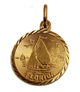 Florida Sail Boat Round Pendant 18k Gold Plated with 20 inch Chain