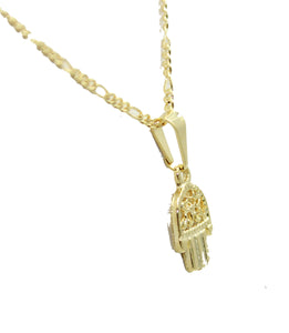 Hamsa Hand Pendant 18k Gold Plated Pendant with 18 inch Chain- Fatimas Hand Charm