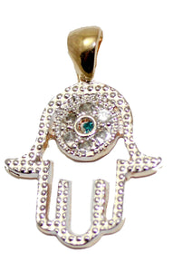 Hamsa Fatima Hand with Evil Eye Pendant Charm 18K Gold Plated 20 inch Chain