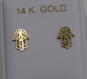 Hamsa Hand 14k Yellow Gold Laser Cut Screw Back Earrings - Hamsa Hand Screw Back