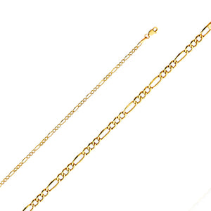 Figaro Chain 2.6 mm14k Yellow Gold Chain - Figaro Necklace 2.6mm 16 to 24inch