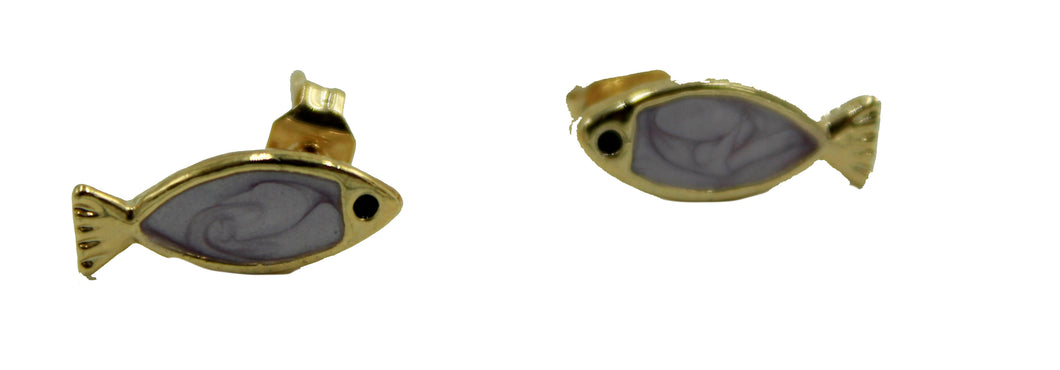 Fish Stud Earrings 18k Gold Plated Push Back Earring with Enamel