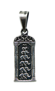 Elephant Family Luck Charm .925 Sterling Silver Pendant - Elephant .925 Sterling