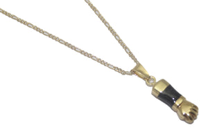 Figa Hand Charm Black Pendant 18K Gold Plated Fig Hand Necklace - Mano Fico - Figa Charm Pendant