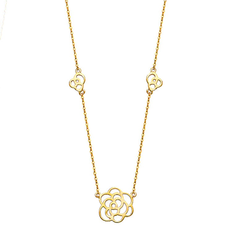 Flower 14k Yellow Gold Necklace 17 inch - Flower Necklace 14k Yellow Gold