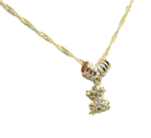 Frog CZ Charm 20 inch Necklace 18k Gold Plated - Frog Necklace
