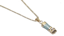 Figa Hand with Turquoise Enamel Charm Pendant 18K Gold Plated with 20 inch Chain