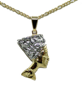 Nefertiti Egyptian Queen Pendant 18k Gold Plated with 20 inch Chain - Nefertiti