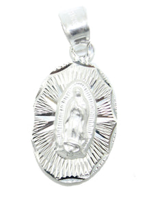 Virgen de Guadalupe with St Jude Thaddeus .925 Sterling Silver Pendant