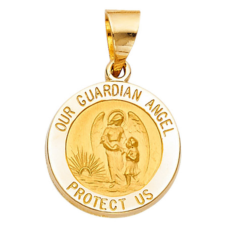 Guardian Angel Round Medal 15mm 14k Solid Yellow Gold -  Guardian Angel Medal