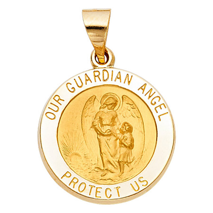 Guardian Angel Round Medal 26mm 14k Solid Yellow Gold -  Guardian Angel Medal