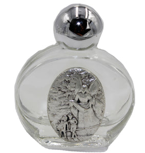 Glass Holy Water Bottle with Guardian Angel Silver Plated Medal - Holy Water Bottle with Angel de la Guardia