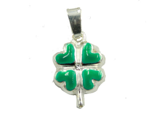 Green or Red Clover 4 Leaf Lucky Pendant .925 Sterling Silver - Clover Charm