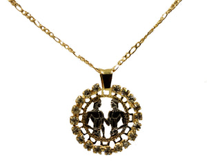 Gemini Charm Pendant 18k Gold Plated with 20 inch Chain - Geminis Zodiac Horoscope Necklace