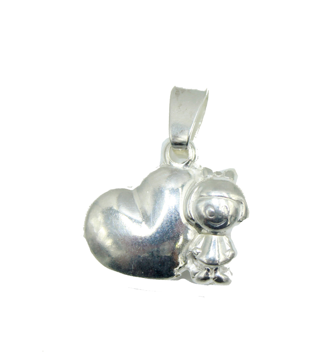 Girl with Heart Charm .925 Sterling Silver - Girl Charm Silver Pendant