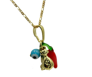 Lucky 6 Talisman Good Luck Pendant 18k Gold Plated with 20 inch Chain - Evil Eye
