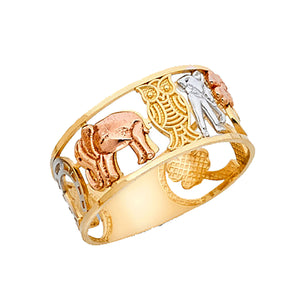 Lucky 7 Talisman Good Luck Ring 14k Gold Size 7 to 10 - Good Luck Ring 14k Gold