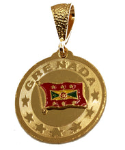 Grenada Flag 18K Gold Plated Pendant with 22 Chain - Grenada Flag Necklace