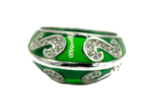 Green CZ Statement .925 Sterling Silver Ring Size 7 - Green CZ Ring