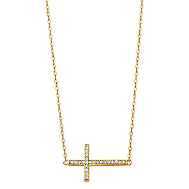 Side Cross 14k Yellow Gold Necklace 18 inch - Side Cross CZ 14k Gold Necklace