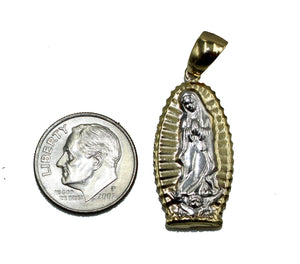 Virgen De Guadalupe Two Tone 18k Gold Plated Medal with 20 inch Chain