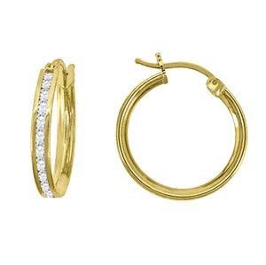Huggie 16 mm X 2 mm 14k Yellow Gold - Small CZ Hoop 1/2 inch 14k Gold
