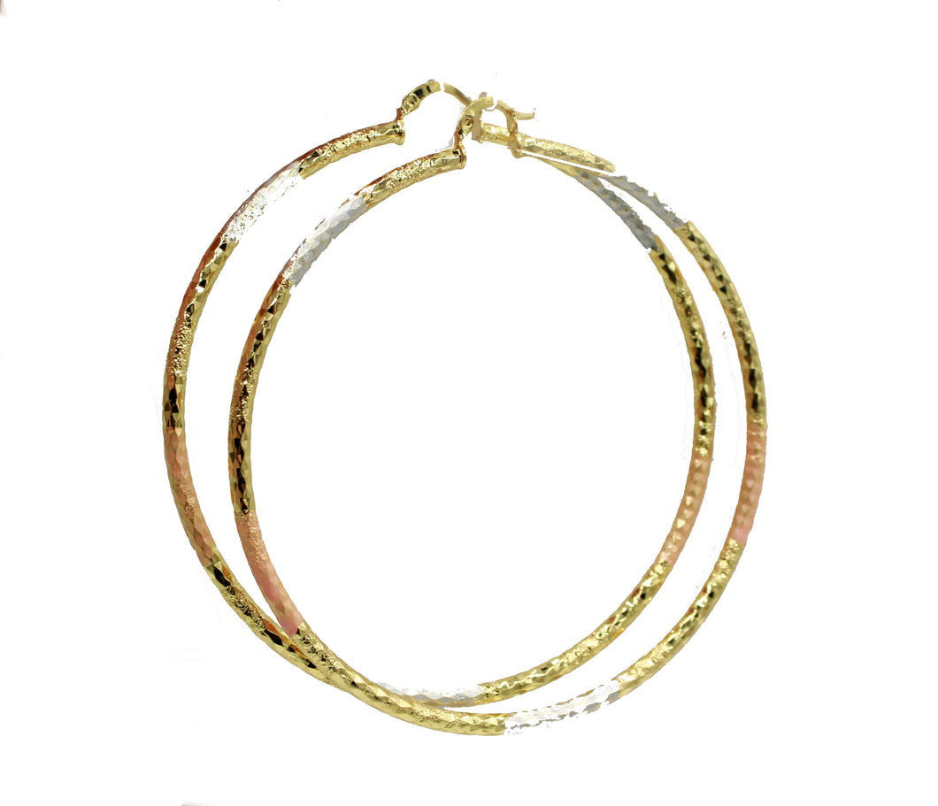 Round 3 inch Hoops Three Tone 18K Gold Plated Hoops - 3 inch Three Tone Hoop