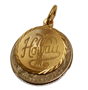Hawaii Round Pendant 18k Gold Plated with 20 inch Chain - Hawaii Necklace