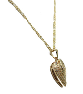 Heart Pave CZ Pendant 18k Gold Plated Medal with 20 Inch Chain - Heart Necklace