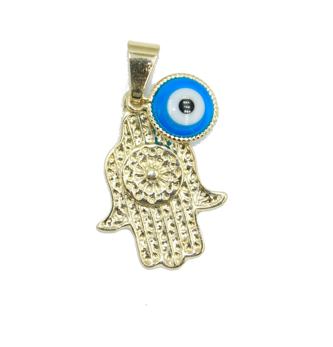Hamsa Hand with Evil Eye Pendant 18k Gold Plated Pendant with 20 inch Chain