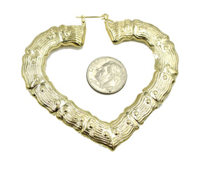 Bamboo Heart Hoop Earring 18k Gold Plated Earring - Bamboo Heart Hoop