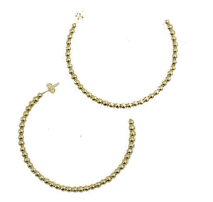 Hoops Ball 3mm X 2.5 inch Bold 18k Gold Plated - 2.5 inch Ball Hoop 3mm