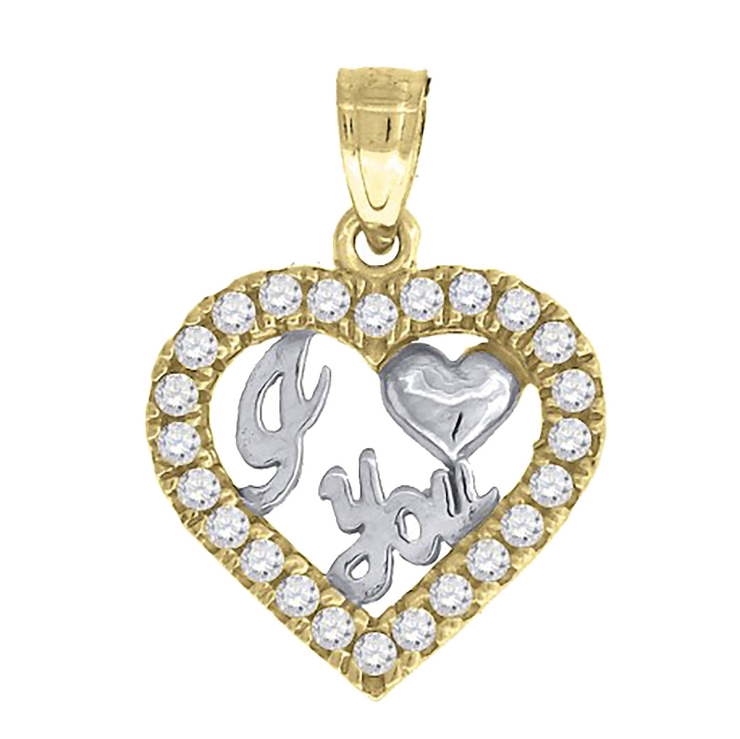 Heart I Love You CZ Pendant 14k Yellow Gold Pendant - I Love You 14k Gold Charm