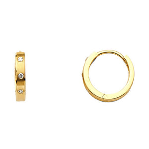 Huggie 15 mm Earrings 14k Yellow Gold Clear CZ Earrings