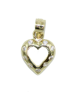 Heart CZ 10k Yellow Gold Pendant - Heart CZ 10k Gold Charm