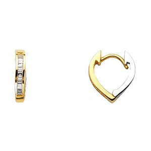 Heart Huggie 10 mm Earrings14k Two Tone Gold Clear CZ Earrings