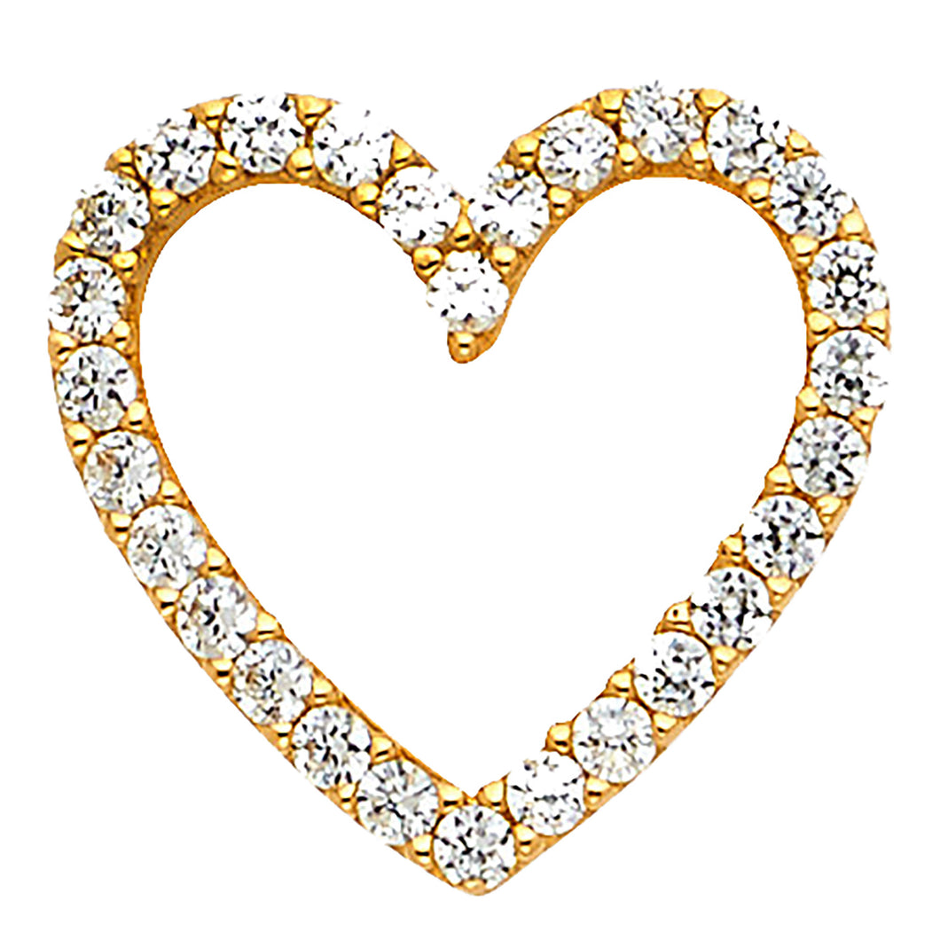 Heart CZ Pendant 14k Yellow Gold Pendant - Heart CZ 14k Yellow Gold Charm
