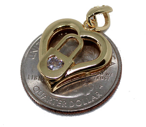 Heart Lock Pendant 18k Gold Plated with 20 inch Chain Necklace - Heart and Lock Necklace