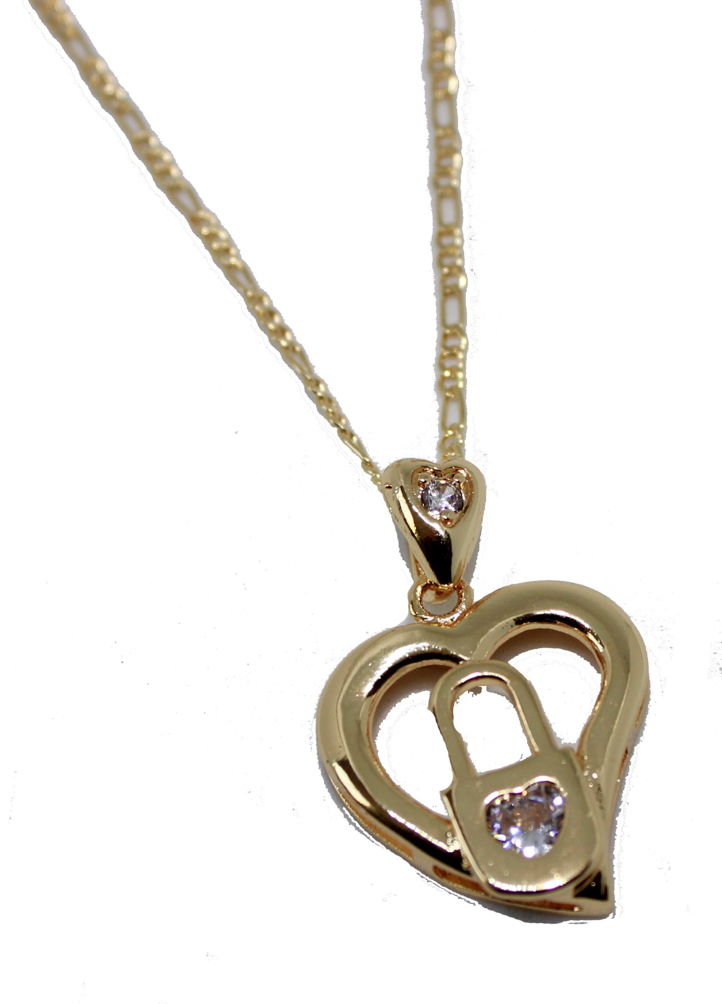 Heart lock pendant 18k gold plated with 20 inch chain necklace heart lock pendant 18k gold plated with 20 inch chain necklace heart and lock necklace aloadofball Gallery