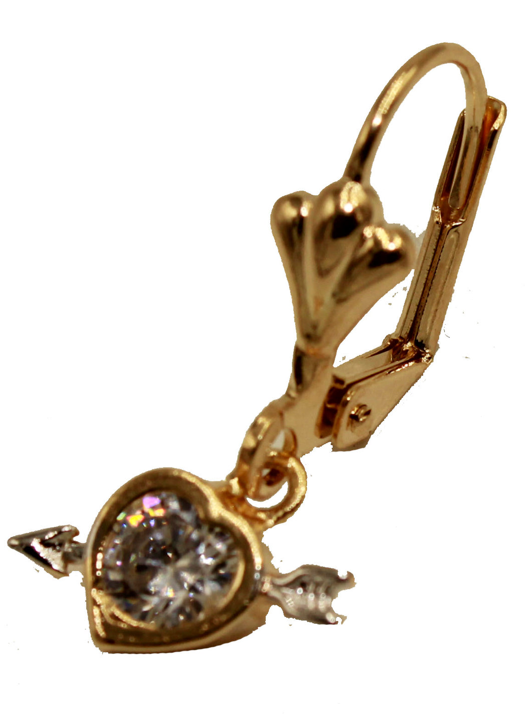 Cupid's Arrow Heart CZ Dangle Earring 18k Gold Plated French Clasp