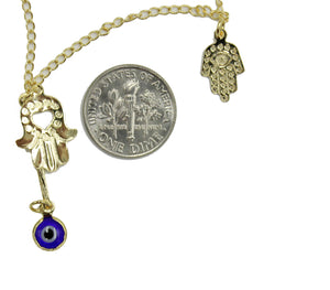 Evil Eye Necklace with Hamsa Hand 18k Gold Plated Necklace 18 inch - Hamsa Hand