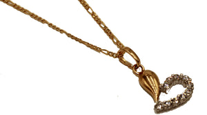 Heart with CZ Necklace 18k Gold Plated with 20 inch Chain - Heart Charm
