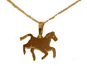 Horse Charm Pendant 18k Gold Plated Pendant with 20 Inch Chain - Horse Necklace