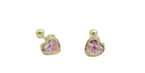 Heart 5mm CZ 18k Gold Plated Screwback Earring - Corazon Aretes Screwbacks