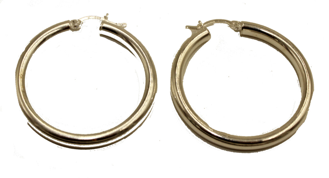 Round 4 cm Hoops .925 Sterling Silver Hoops - Shinny Hoop Earrings 4mm Width