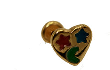 Heart Stud with Moon18k Gold Plated Earrings Stud Earrings with Enamel