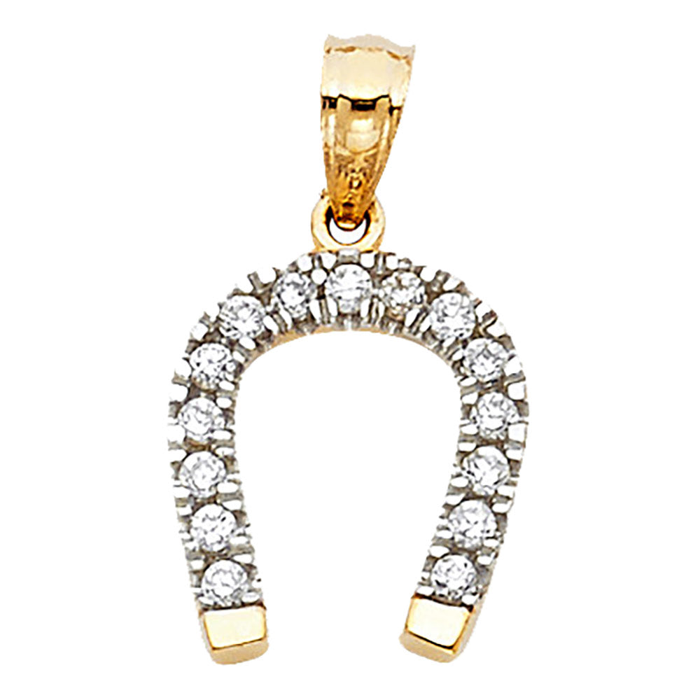 Horse Shoe with CZ Pendant 14k Yellow Gold Pendant - CZ Good Luck Pendant