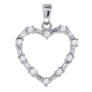 Heart Pendant with Baguette CZ .925 Sterling Silver - Heart CZ Silver Charm