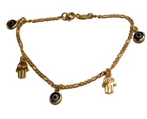 Evil Eye & Hamsa Hand Bracelet Chain 18K Gold Plated - Evil Eye Bracelet 7