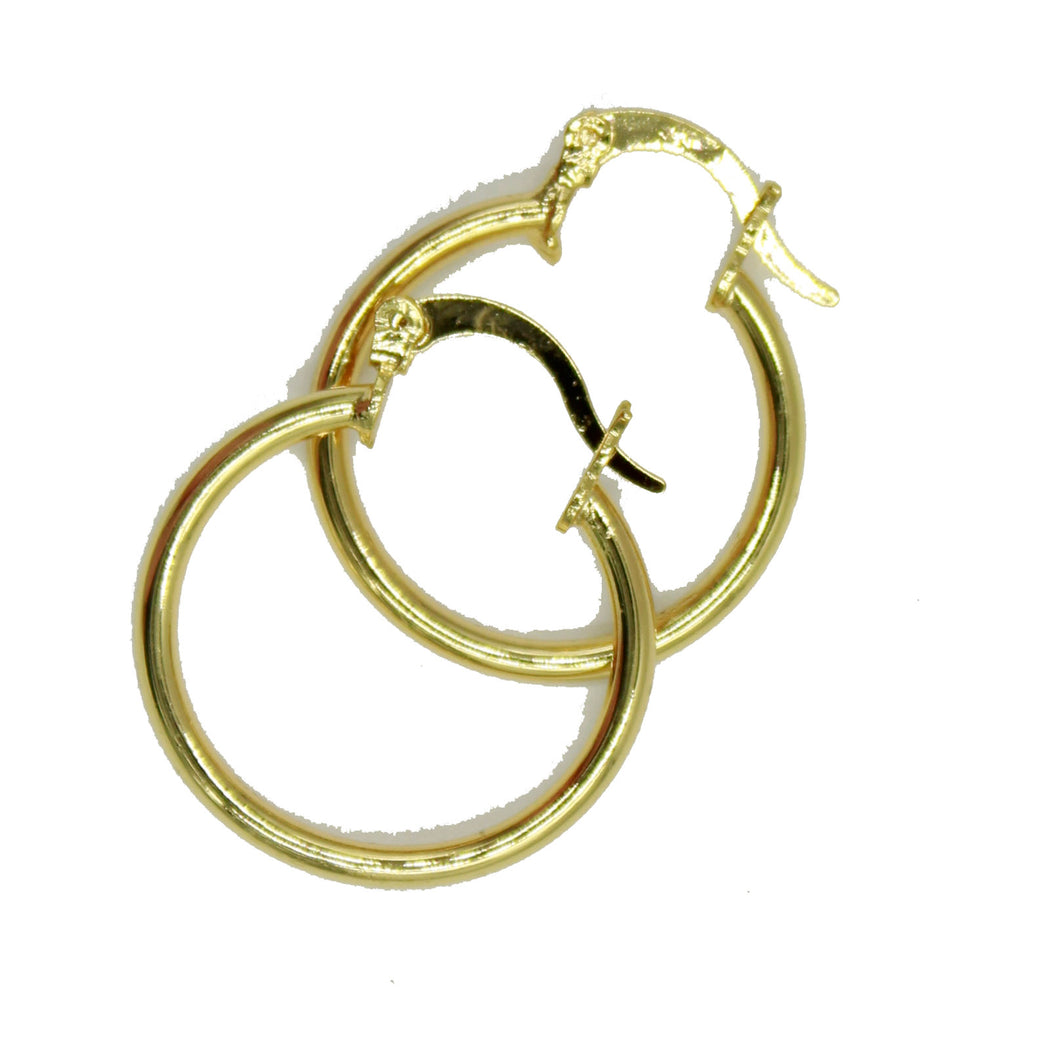 Hoops Earrings 2mm X 22mm Shinny 18k Gold Plated Hoops - Hoop 22 mm X 2mm